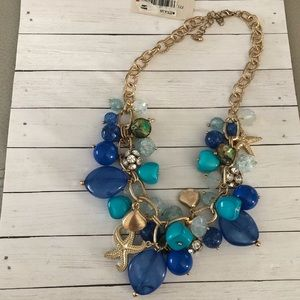 Beach themed gold statement necklace